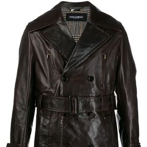 NWT DOLCE & GABBANA LEATHER TRENCH COAT SIZE XL